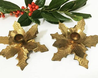 Brass Holly Leaf Candlestick Holders / Christmas Candle Holder Pair / Mid Century Brass Holiday Decor