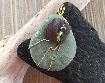 Lake Superior Green Olivine Bead Pendant
