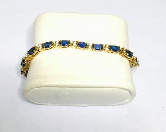 Vintage Avon Tennis Bracelet, Clear and Blue rhinestones, Gold tone, Clearance SALE, Item No. B909