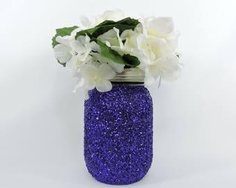 Purple Glitter Mason Jar for Wedding Decor, Baby Shower Decor, Graduation Party Decor, Birthday Party Decor, Halloween Decor