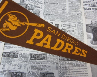 Rare Vintage San Diego Padres Baseball Pennant 15 Inch Pennant Banner Flag 1960s Era Collectible Vintage Sports Room Decor Old Baseball