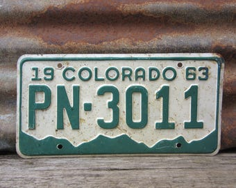 Vintage Colorado License Plate 1963 Vintage PN 3011 Green & White Aged Car Auto Hot Rod Old Metal License Plate Tag Altered Art Supply Sign