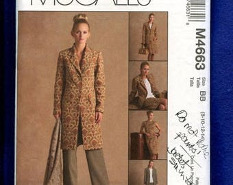 15% OFF SALE McCall's 4663 Trendy Wardrobe Duster Skirt Top & Pants Size 8..10..12