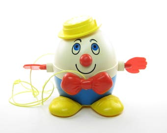 Humpty Dumpty Toy Vintage Fisher Price Toddler Character with Pull String