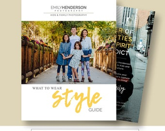What to Wear Family Photography Style Guide; Photoshop Template for Photographers, Marketing Magazine Template, FPWTW100, INSTANT DOWNLOAD