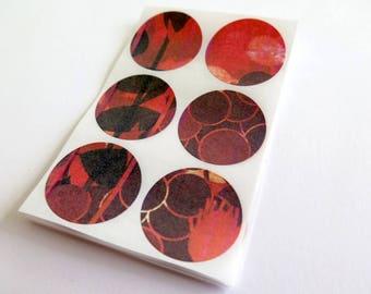 Envelope seals, sticker set of 30, card crafts, red orange black