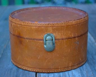 Antique Leather Collar Box with Grosgrain Interior | Edwardian Mens Wardrobe Accessories | Round Antique Leather Box with Latch