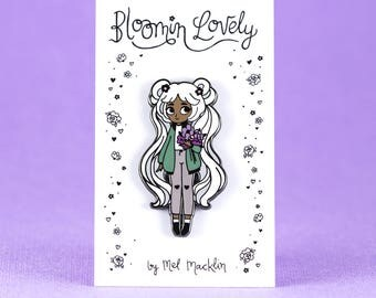 Bloomin' Lovely Hard Enamel Lapel Pin // Choc Mint Icy Variant // Wearable Art, Jewelery, Flowers, Chibi, Cute, Kawaii, Girl