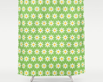 2 Colour Options, Daisy Flowers Shower Curtain, Lime Green Daisy Pattern, Abstract geometric shower curtains, flower pattern bathroom decor