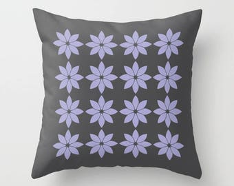 8 colours, Lavender, Minimalist Flowers Pillow, Charcoal Black, Modern Rustic, Nordic style, Faux Down Insert, Indoor or Outdoor cover