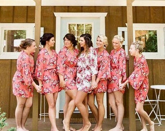 Personalized Floral Satin Kimono Robes | Embroidered | Monogrammed | Robes Bridesmaid's Gifts for Bridal and Wedding Parties