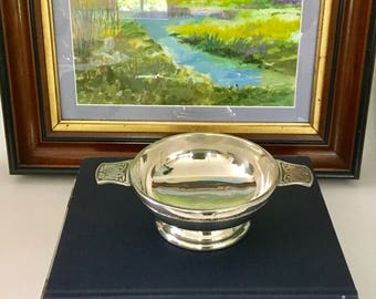 Vintage Large Scottish Quaich, Round Pewter Bowl with Handles, Celtic Dragon Motif, made in the U.K., Thistle hallmark