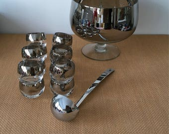 Mid Century Silver Band Footed Punch Bowl with 12 Roly Poly Glasses and Ladle, Dorothy Thorpe Style