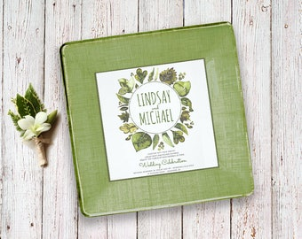 Garden wedding gift invitation plate keepsake for couples for parents invitation gift idea unique gifts using invitation first anniversary