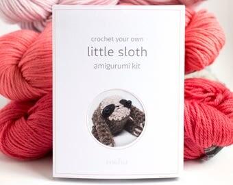 amigurumi kit - crochet sloth diy craft kit