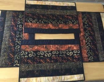 Set of 4 quilted batik placemats