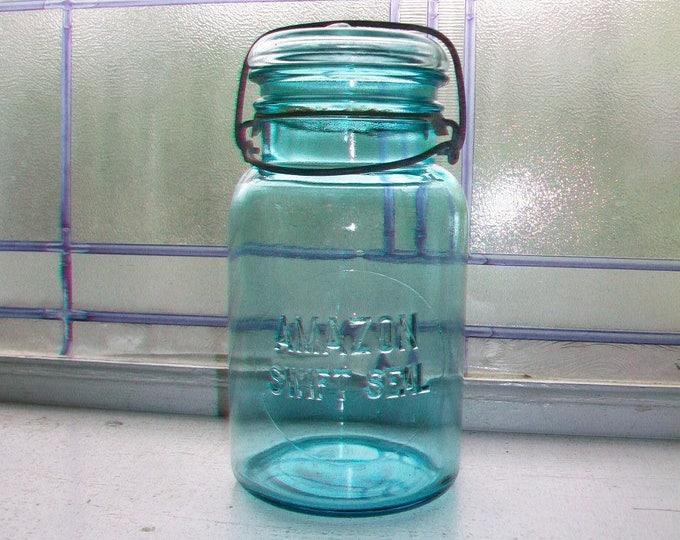 Blue Amazon Swift Seal Jar Quart Glass Lid Vintage 1920s