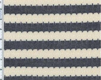 Gray Blue/Cream Stripe Tuck Stitch Knit, Fabric By The Yard