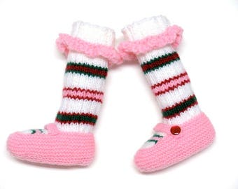 Stick Candy Knitted Baby Booties