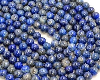 8mm Genuine Lapis Lazuli Gemstone Blue Round 8mm Loose Beads 15 inch Full Strand (80005262-418)
