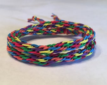Rainbow Double Wrap Hemp Cylinder Bracelet