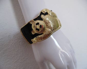 SALE :)) MY PANDA . Cutest Bear Statement Chunky Bracelet Bangle Hinged Cuff Novelty Animal Very-Very Rare!