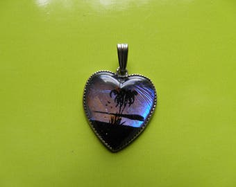Sterling Heart Charm, Pendant With Palm Tree Scene.