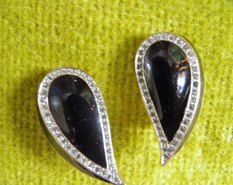 Panetta Black Onyx and Rhinestone Clip Earrings, SIGNED PANETTA