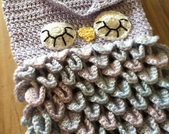 Baby Owl Cocoon, newborn crochet owl cocoon and hat, purple crochet newborn owl wrap and hat