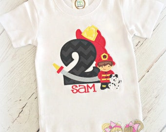Fireman birthday shirt - fireman and dalmatian birthday shirt - 1st birthday shirt - fireman themed birthday - fire engine birthday shirt