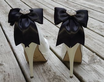 Black Satin Wedding Shoe Clips,Bridal Shoe Clips, Rhinestone Shoe Clips,MANY COLORS, Bow Shoe Clips, Clips for Wedding Shoes, Bridal Shoes