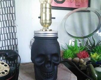 black glass skull jar fillable lamp