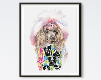 Valley Girl Puppy - Dog Painting - Art Prints - Dog Print - Fashion Art - Funny Art - Dog Art - 80s Art - Watercolor - Animal Art - Boy Band