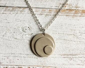 Modern Ceramic Pendant, Unique Gift, Modern, Minimal, Ceramics, Circles, Modern Jewelry, Minimal Jewelry, Ceramic Jewelry