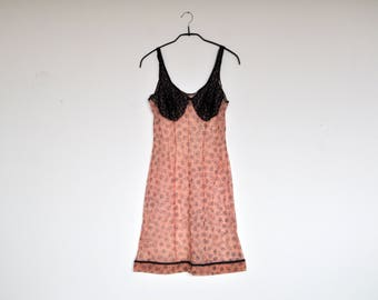 Vintage Sheer Peachy Pink Babydoll Negligee Floral Print Black Lace Camisole