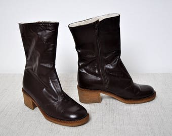 NOS Vintage Brown Leather Boots Sheepskin Lined Zip Up Ankle Heels Winter Granny Booties