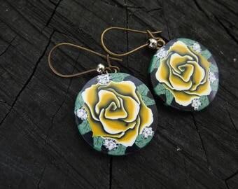 Rose Earrings, Rose jewelry, Yellow and black, Rose art, Rose jewelry, Artisan earrings, silver, Large earring, dangle earrings