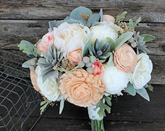 Keepsake Bridal Bouquet - Faux Succulents, Silk Flowers, Peonies, Cottage Roses, Sola Flowers, Lambs Ear, Dusty Miller Silver Brunia Wedding