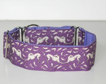 "2"" Martingale Dog Collar Bowing Greyhounds - Purple"