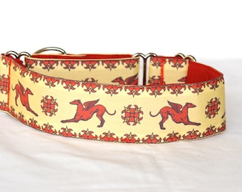 "2"" Martingale Dog Collar Greyhound Angels - Rust on Gold"
