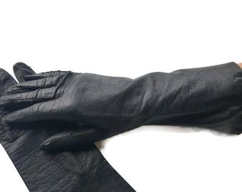 Kid Leather Gloves, Long Leather Gloves, Kid Leather Gloves Black, Long Black Kid Leather Gloves, For Women, Vintage Leather Gloves, Size 6