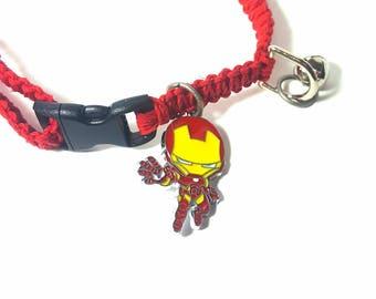 Pet Collar, Hemp Pet Collar, Cat, Small Dog, Kitten, Super Hero Charm Pendant, Adjustable, Boho Pet Collar, Black, Red, Iron Man