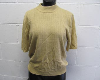 Vintage 80s 90s Gold Metallic Threaded Knit Top Turtle Neck Ribbed Knit Sweater Top