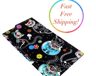 Day Of The Dead Cat Wallet, Womens Wallet, Cash Envelope Wallet, Checkbook Cover, Small Wallet For Women, Envelope System Wallet