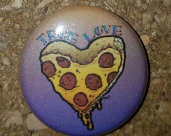 """Pizza Heart 1"""" Pin, Pinback Button, peach/purple"""