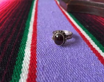 sterling silver & garnet POISON RING