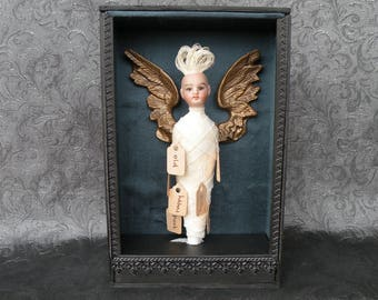 Curiosity Box, Shadow Box, Assemblage, TAGGED. Antique doll, angel wings
