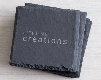 100 Custom Slate Coasters Engraved with Logo: Promotional Coasters, Giveaway Coasters, Customer Coaster Gift, Client Coaster