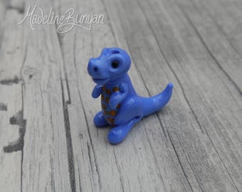 Cute Baby Dinosaur - Sculpted Lampwork Bead Focal, periwinkle blue and orange spots