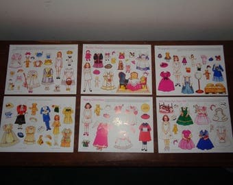 Vintage Set of Six (6) Sheets of Collectible Paper Dolls in Mint Condition great for scrapbooks, memory pages, gift cards or just for play